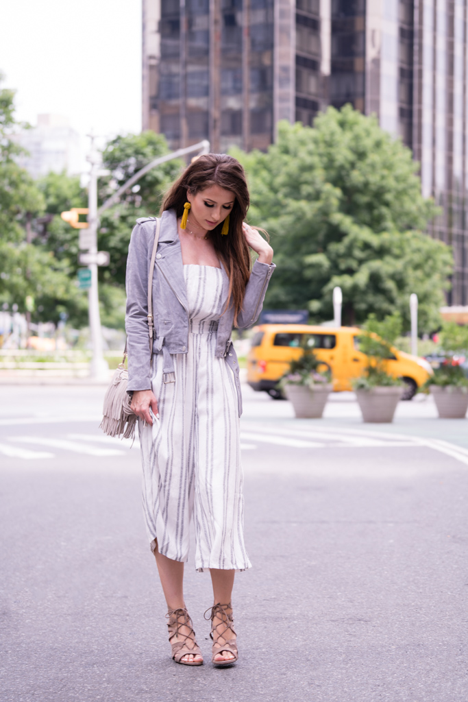 Summer Striped Jumpsuit and a Suede Moto Jacket_